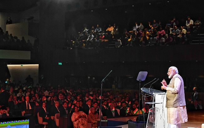 Prime Minister Narendra Modi addressing the Indian community, at UNESCO Headquarters, in Paris, France on August 23, 2019.