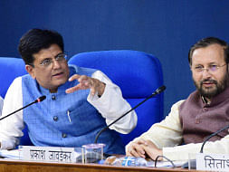 Union Ministers Piyush Goyal and Prakash Javadekar briefing the media on Cabinet decisions, in New Delhi on August 28, 2019