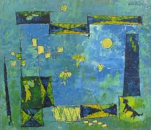One of the works of artist V S Gaitonde on view in the retrospective of his works that has opened in Mumbai.