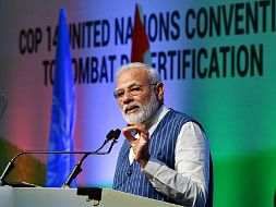 Prime Minister Narendra Modi addressing the 14th Conference of Parties to the 14 United Nations Convention to Combat Desertification, at Greater Noida on September 9, 2019.