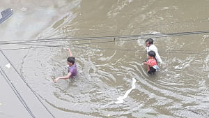 A scene in Patna on September 28, 2019, where heavy rains have caused waterlogging in many areas and affected normal life. (Photo: IANS)
