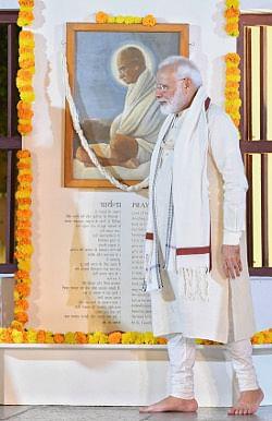 Prime Minister Narendra Modi at Sabarmati Ashram in Ahmedabad, Gujarat on the occasion of the 150th birth anniversary of Mahatma Gandhi on October 2, 2019.