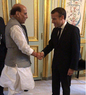 Defence Minister Rajnath Singh calling on French President Emmanuel Macron, in Paris on October 8, 2019