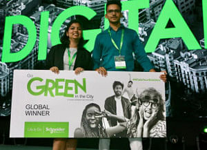 Nimisha Varma and Naveen Suman of Team Aloe e-Cell from Rajasthan Technical University in Kota, who won the Go Green in the City 2019, an international student case study competition organised by Schneider Electric in Barcelona, Spain on October 3, 2019