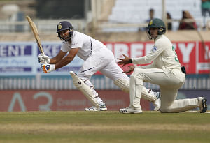 India's Rohit Sharma in action on Day 1 of the 3rd Test match between India and South Africa at JSCA International Stadium Complex in Ranchi on October 19, 2019. (Photo: Surjeet Yadav/IANS)