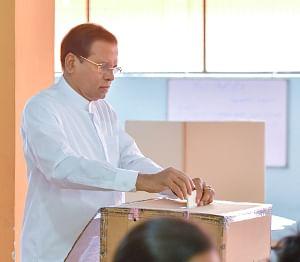 Sri Lankan President Maithripala Sirisena casts his ballot at a polling station in Polonnaruwa, Sri Lanka, November 16, 2019.(Photo by Ajith Perera/Xinhua/IANS)