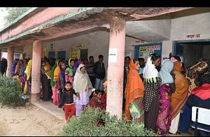 Voters in a queue outside a polling booth  in Ranchi in the third phase of the elections to the Jharkhand Legislative Assembly on December 12, 2019.