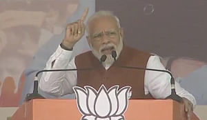 Prime Minister Narendra Modi addressing a public meeting in Dhanbad, Jharkhand on December 12, 2019. (Photo: IANS)