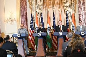 India, US sign defence tech transfer pact, pledge to boost strategic ties at 2+2