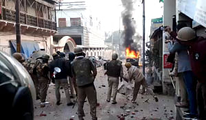 Police personnel at Uparkot area of Bulandshahr in Uttar Pradesh as agitators protesting against the Citizenship (Amendment) Act and the National Register of Citizens went on the rampage on December 20, 2019.