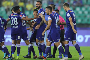 Chennaiyin FC celebrating their 3-1 win over Kerala Blasters in the Hero Indian Super League in Chennai on December 20, 2019.