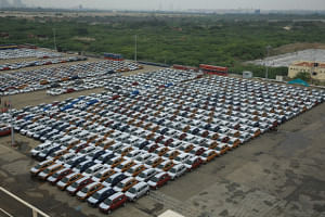 File photo of cars lined up for exports