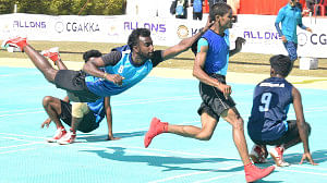 Kerala chaser dives to secure a point against Chhattisgarh in the ongoing 53rd Senior National Kho Kho Championships at  Bemetara.