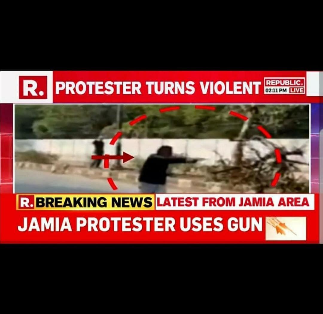 Republic TV misreports: Calls gunman a 'Jamia protester', blames Arvind Kejriwal for violence