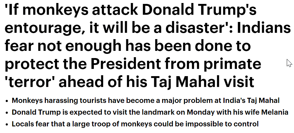 'Terror' of 'marauding macaques': Why Western media needs to lay off its coverage of monkeys potentially attacking Trump at Taj Mahal