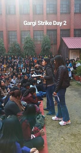 Gargi College students attend a meeting on February 11 where the decision was taken to form a fact-finding committee.