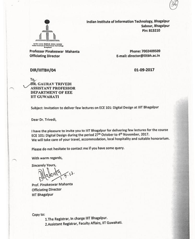 Screenshot of a letter sent by P. Mahanta