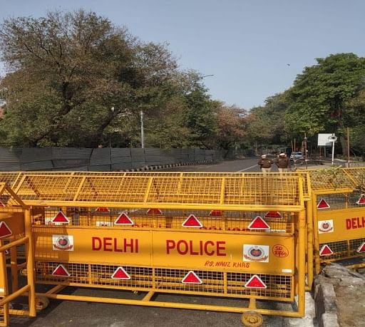 Police barricades along August Kranti Marg near Gargi College on February 11