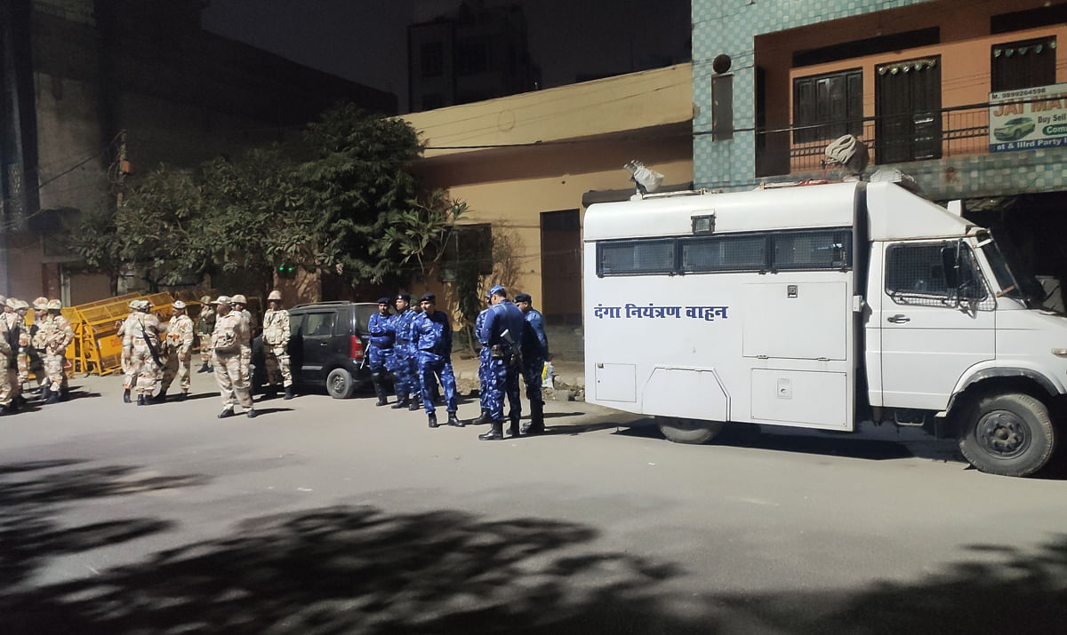 Security forces in Babarpur on January 26, when Amit Shah held a public rally in the area.