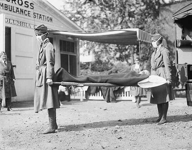 Demonstration at the Red Cross Emergency Ambulance Station in Washington DC during the influenza pandemic of 1918. | National Photo Company Collection/Library of Congress