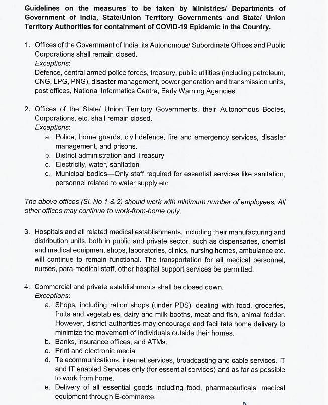 Page one of the Ministry of Home Affairs' guidelines for the lockdown.