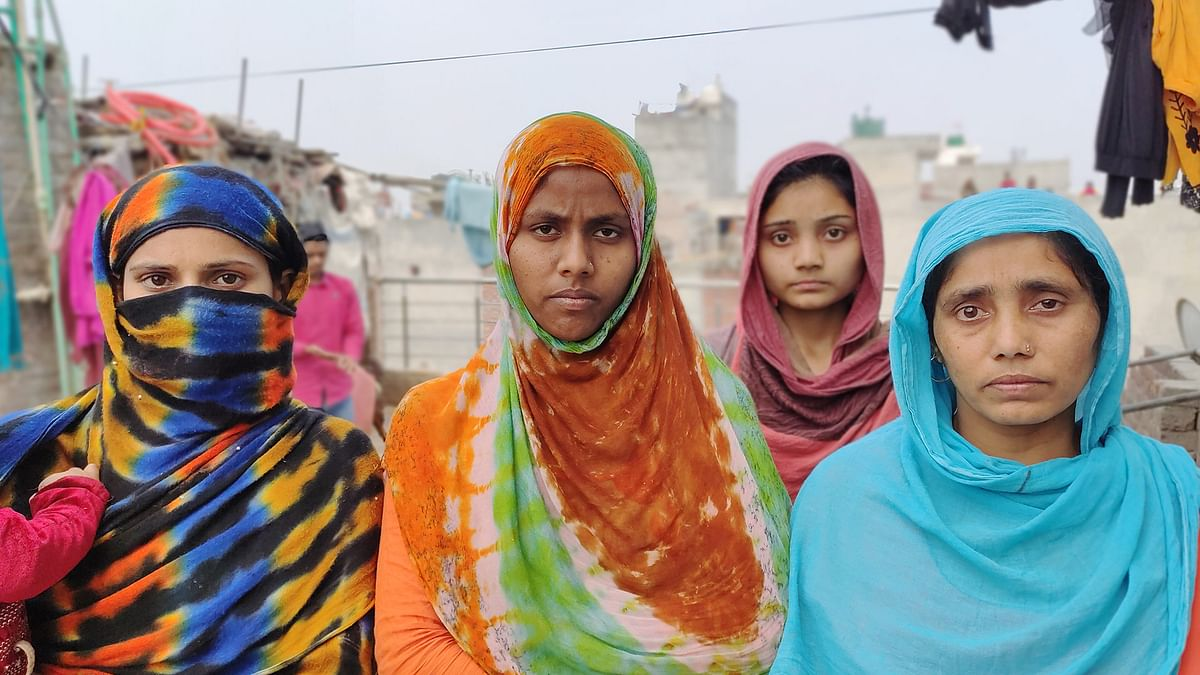 Muslim women who were forced to flee from their homes in Shiv Vihar.