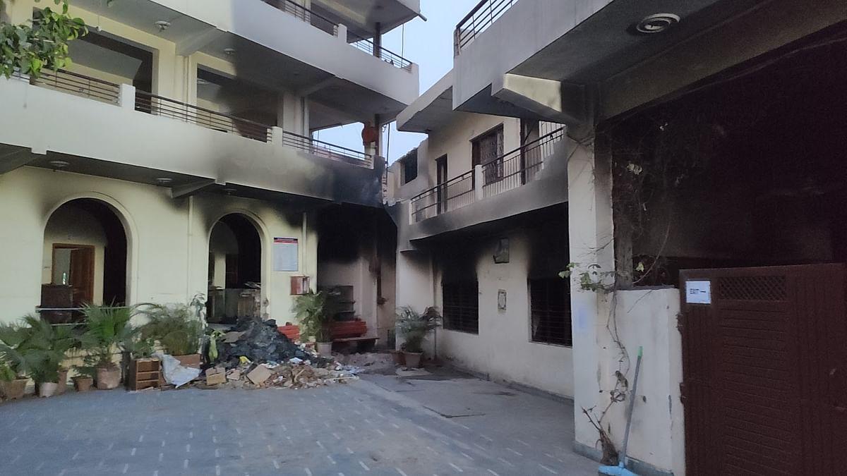 The torched Arun Modern Public School in Brijpur.