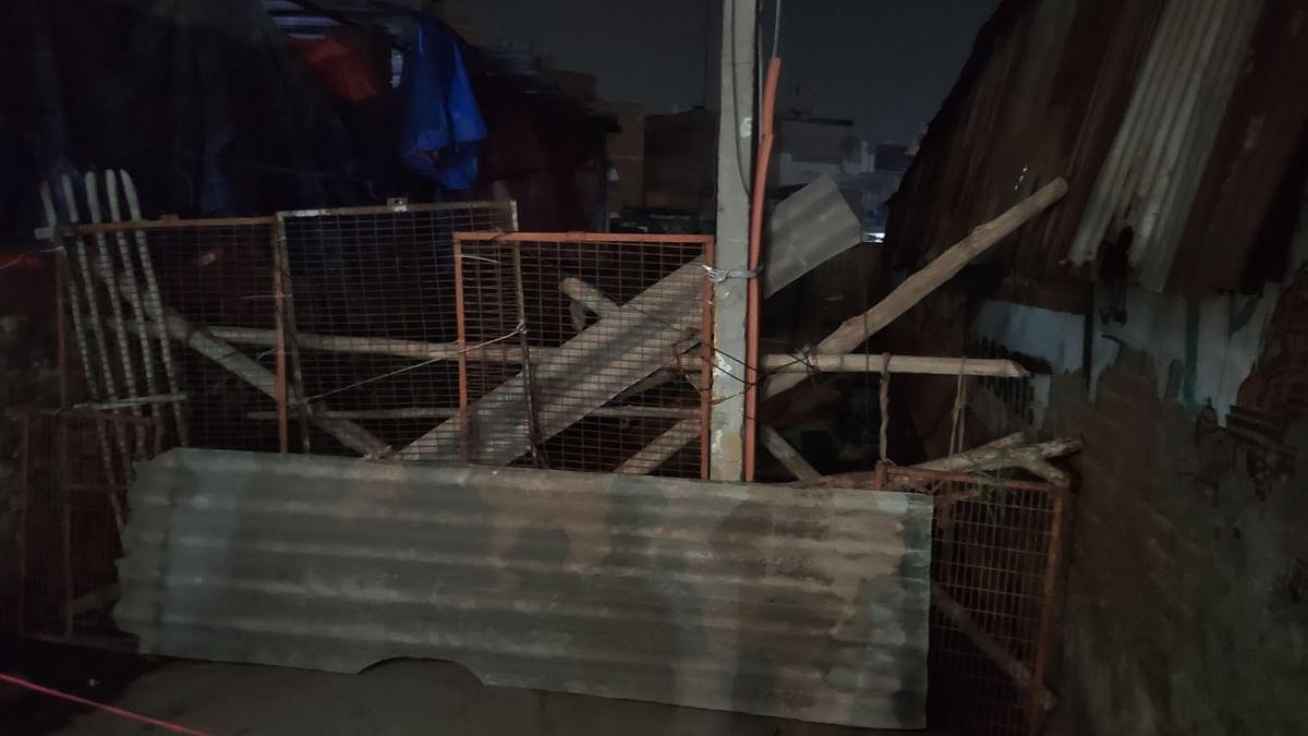 A makeshift barricade near the Shiv temple in Brijpur.