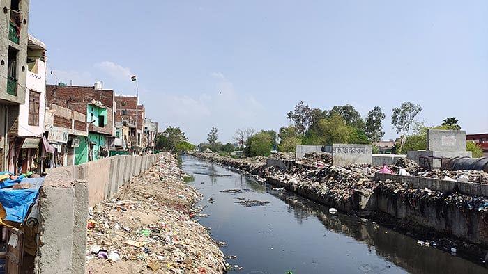 The drain in Bhagirathi Vihar, where Hamza's body was found.