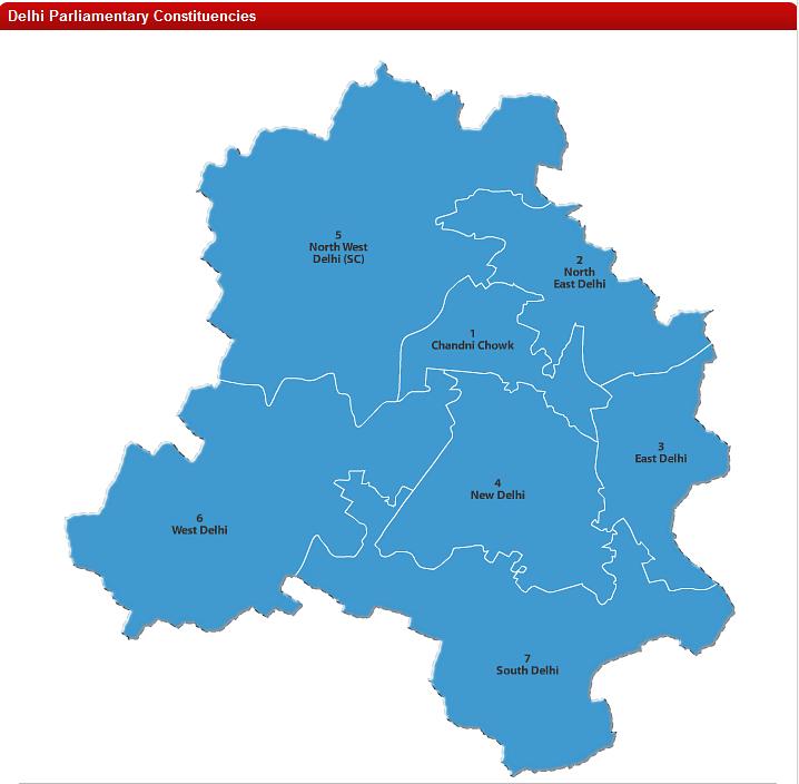 Delhi parliamentary constituencies map.