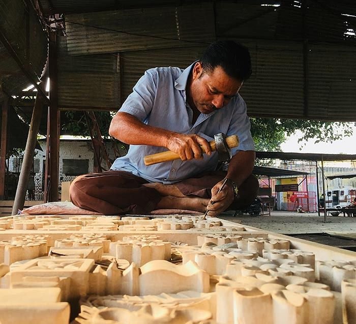 A sculptor preparing shilas for the temple in the workshop of the Ram Janmabhumi Nyas.