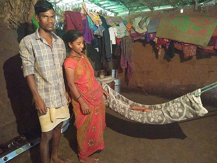 Radhika and her husband, Rajesh. Radhika is seven months' pregnant.