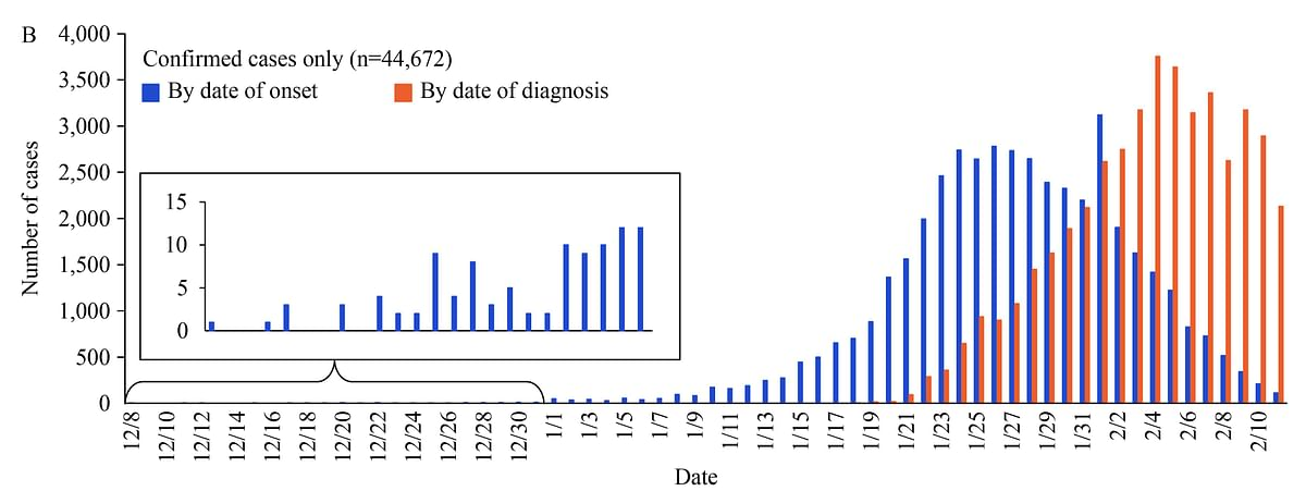 Epidemiological curve from China's centre for disease control's report.