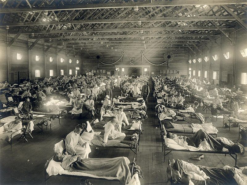Emergency hospital during Influenza pandemic in Camp Funston, Kansas, in 1918. | Armed Forces Institute of Pathology/National Museum of Health and Medicine, distributed via the Associated Press