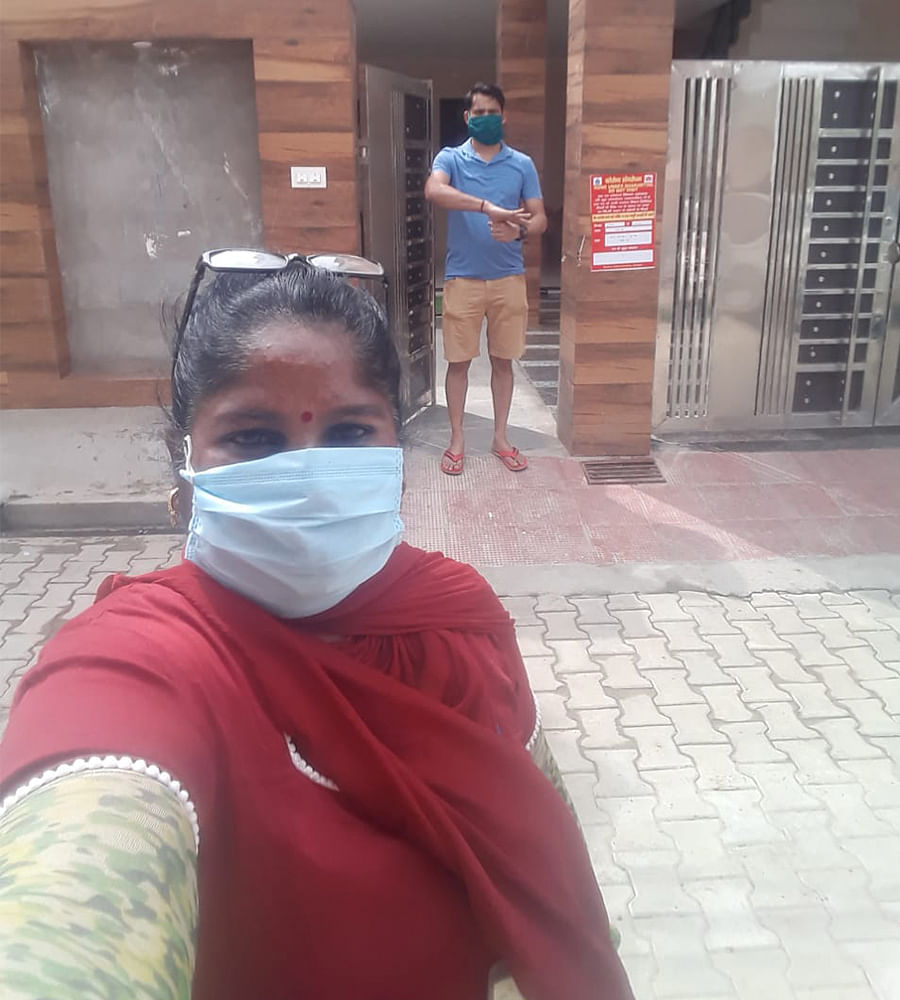 Anju Verma, an ASHA in Ambala district , Haryana after putting up a quarantine notice outside a house.