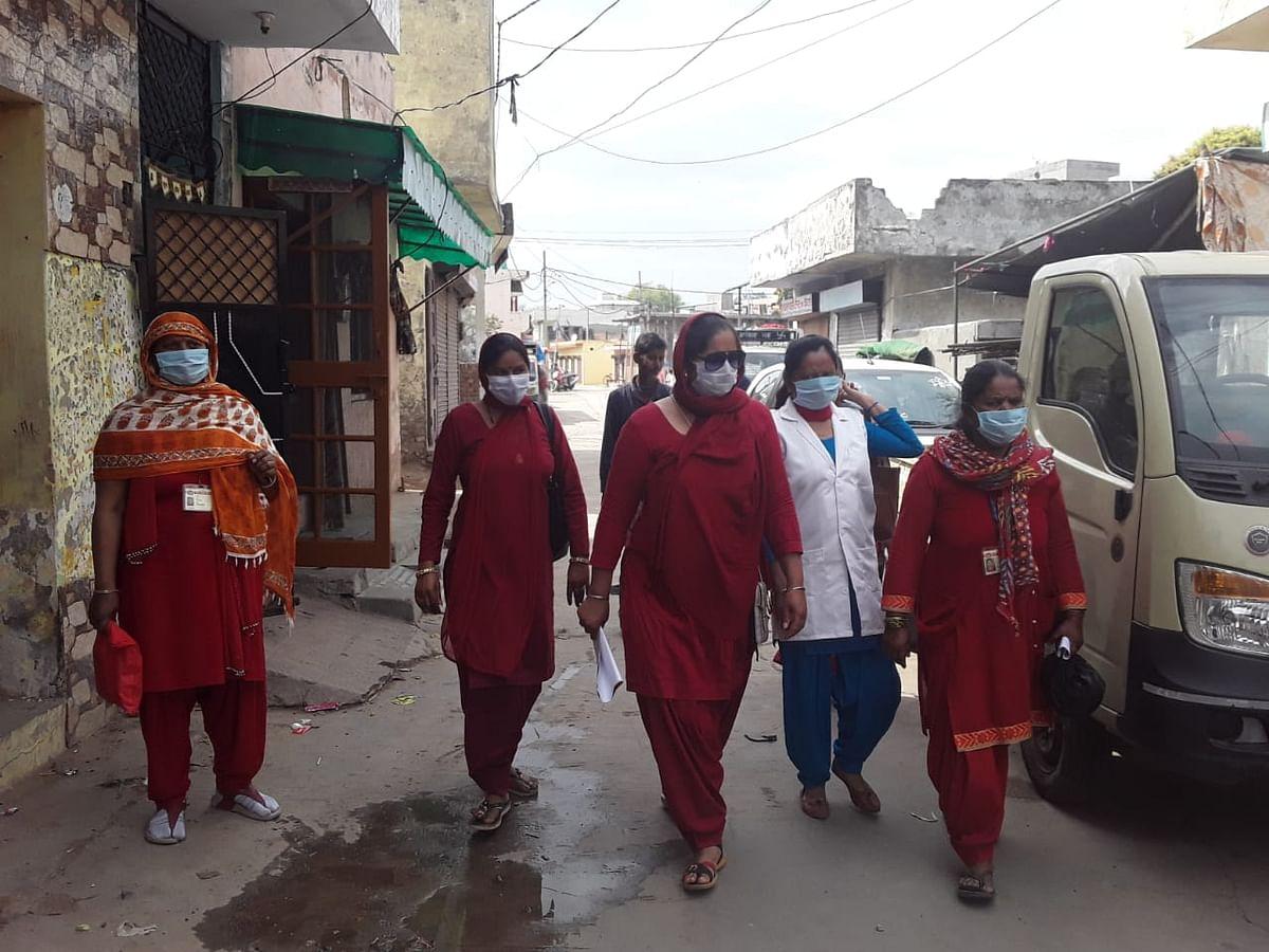 Anju Verma with other ASHAs in Ambala district, Haryana.