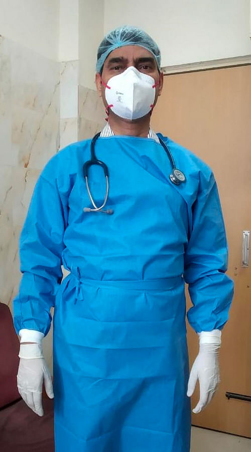 Dr Subhash Giri at work.