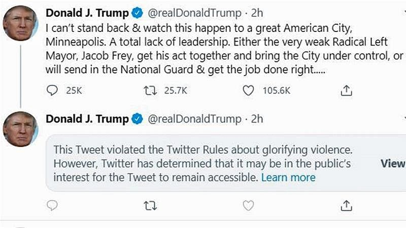 "On May 29, Twitter flagged and hid Trump's tweets that ""glorified violence"". A move that led Trump to sign an executive order that limits the legal protection platforms like Facebook, Google and Twitter have over its content."