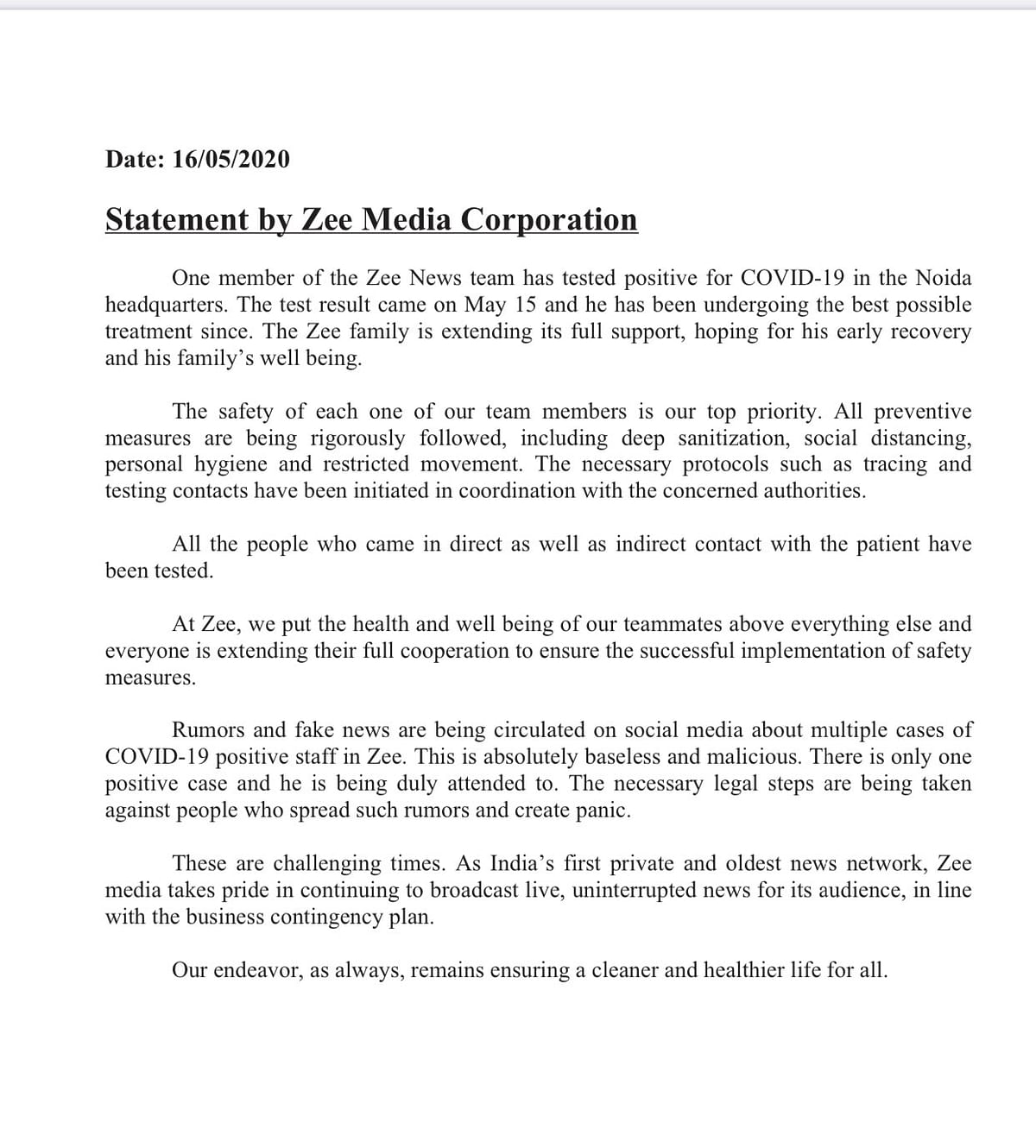 The statement by Zee Media.