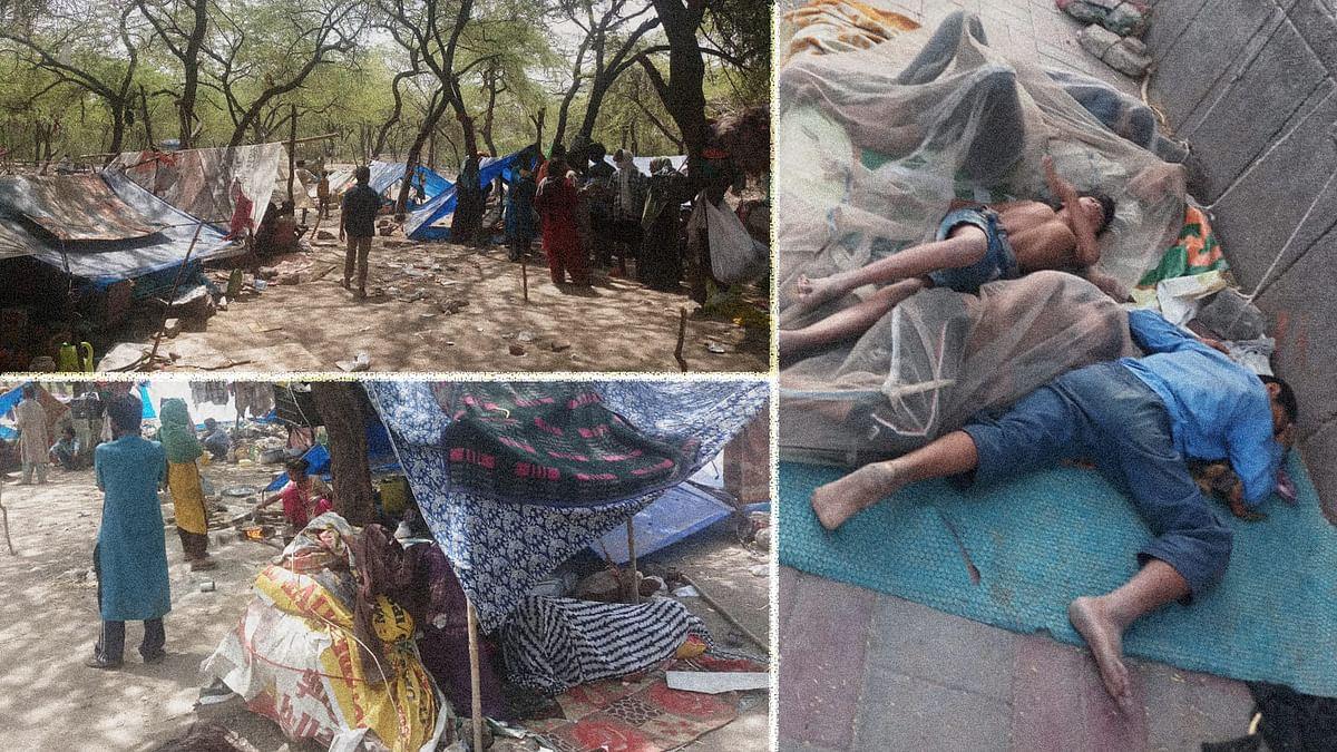 लाख दावों के बावजूद 45 डिग्री की झुलसाती गर्मी में रह रहे प्रवासी मजदूर