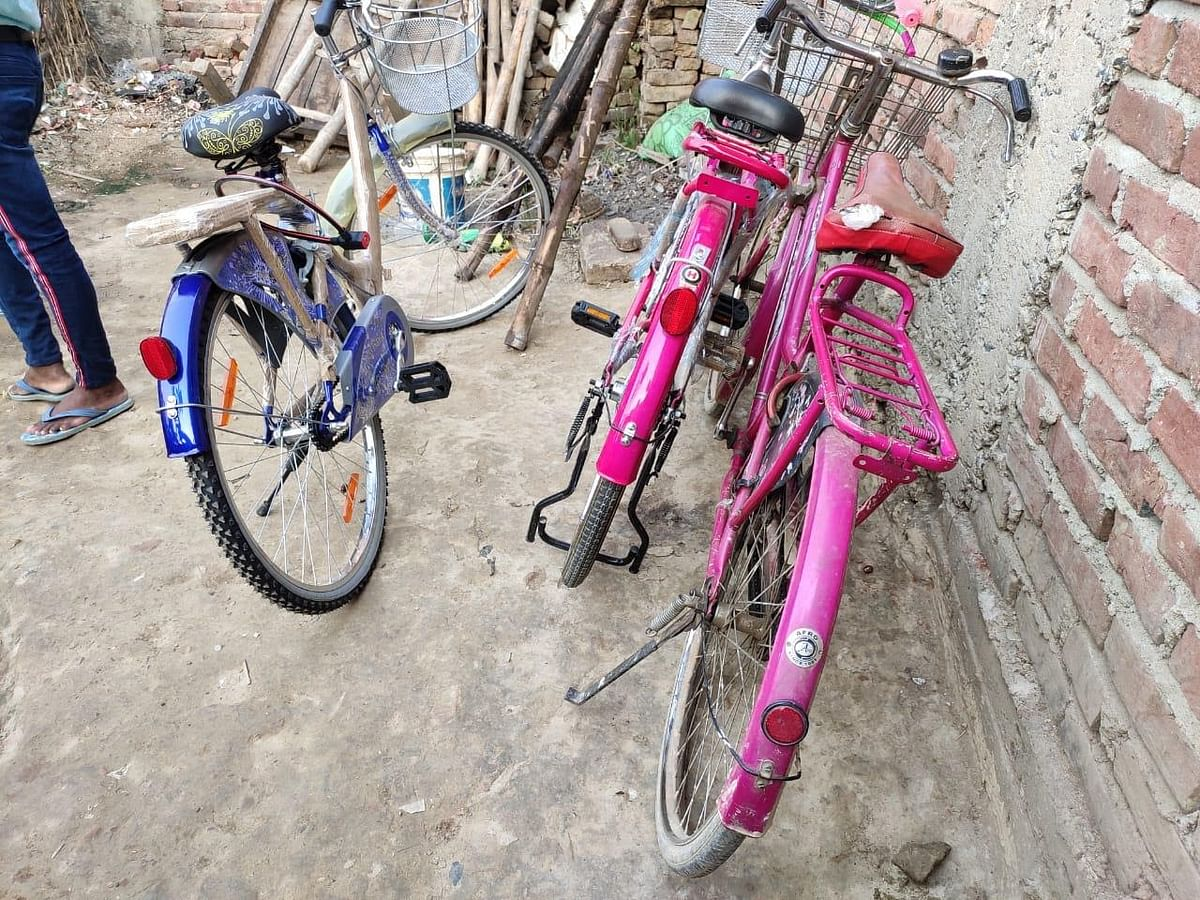 Bicycles gifted to Jyoti Kumari by local political leaders.