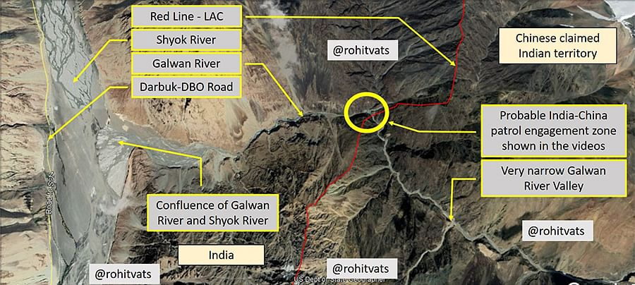 The Galwan river valley and its surroundings. The LAC (shown in red) is considered 'settled'. India's construction of a spur road starting at the Darbuk-Shyok-DBO road and heading eastward towards Indian posts along the LAC may have unsettled the Chinese. The road would allow vehicular access to the posts, and blunt China's dominance of the valley. Map by Rohit Vats (@KesariDhwaj on Twitter). Reproduced with permission.