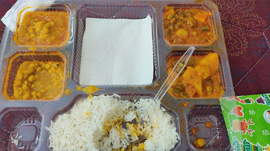 Food at the quarantine facility. Three meals were provided every day.