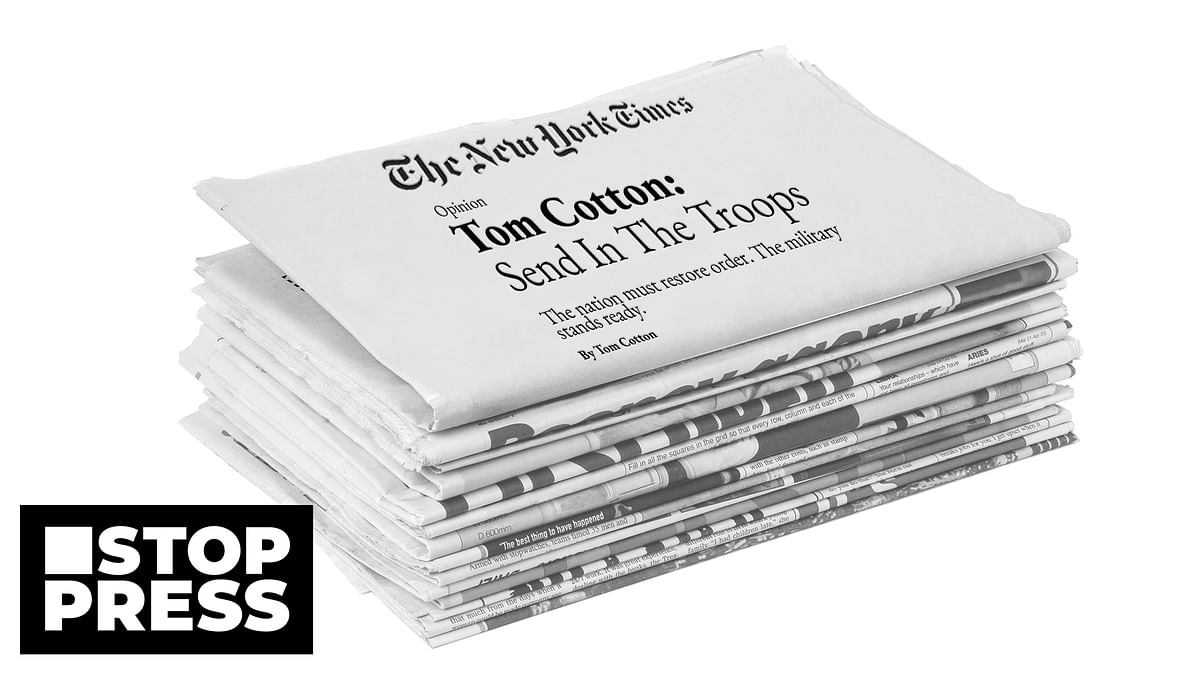 Stop Press: What the furore over Tom Cotton's NYT piece tells us about the media's role in society