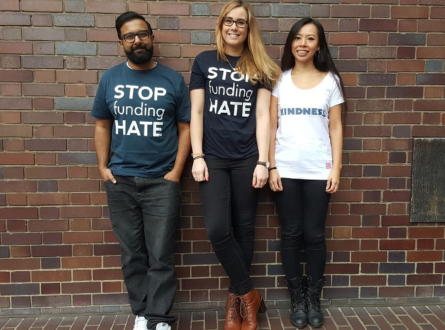 Supporters of the Stop Funding Hate campaign in London.
