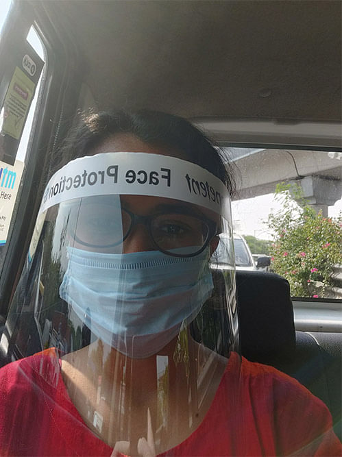 A selfie in the cab after being discharged.