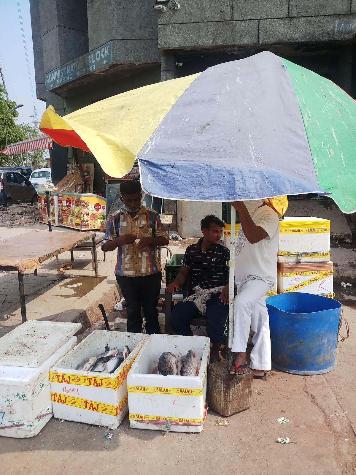 मछली मार्केट में मछलियां बेचते महफूज आलम