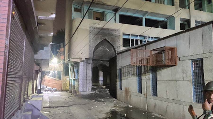A torched mosque in Northeast Delhi's Gokulpuri.