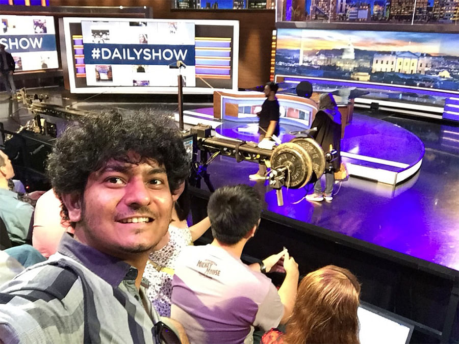 On the set of The Daily Show.