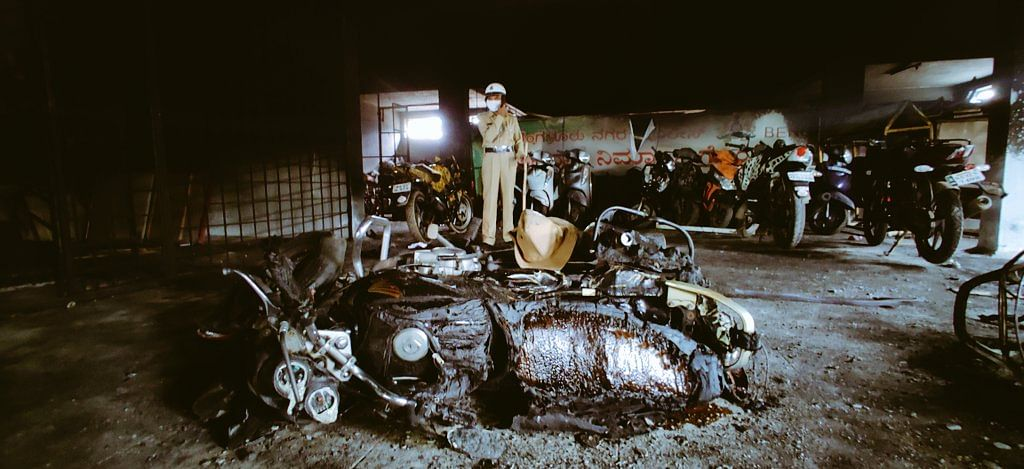 The aftermath of the violence in Bangalore on Tuesday night.